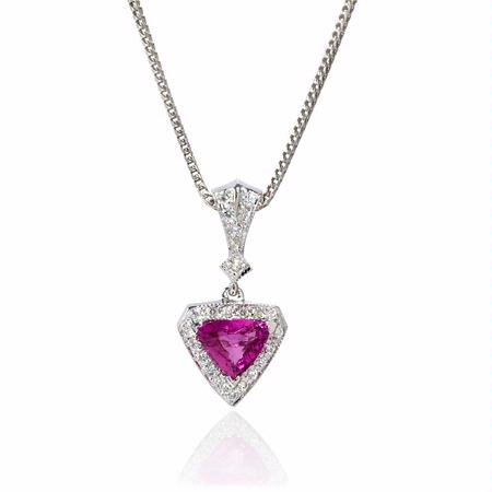 Diamond and Pink Sapphire 18k White Gold Pendant