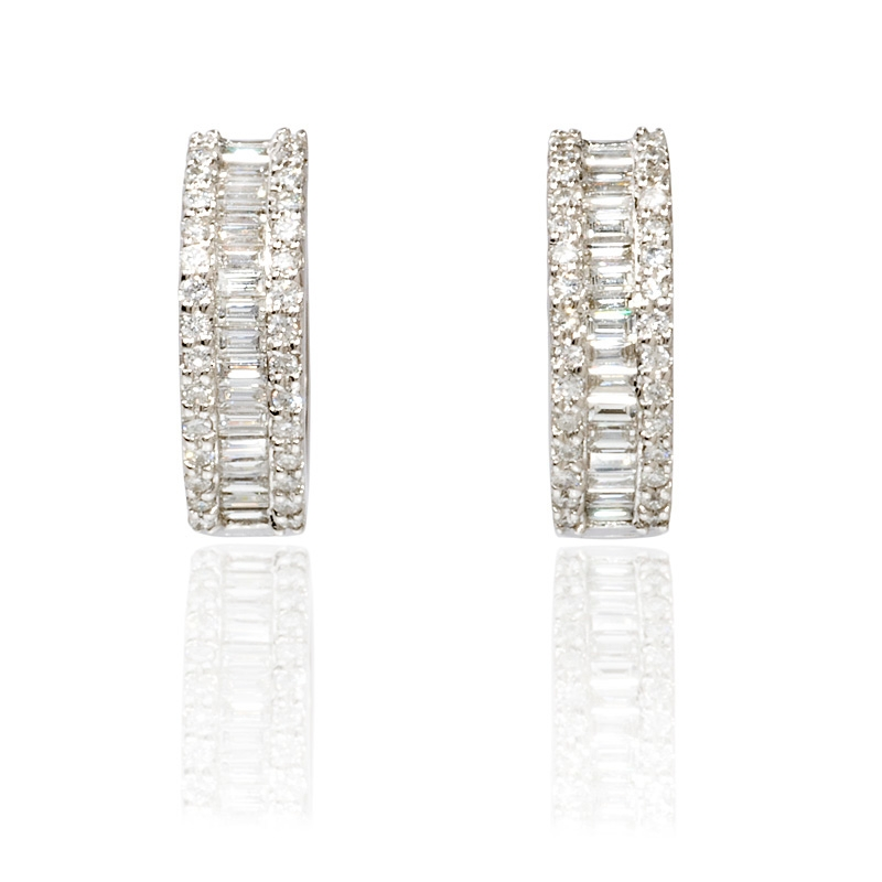 baguette diamonds earrings 71ct baguette and brilliant cut18k white 4979