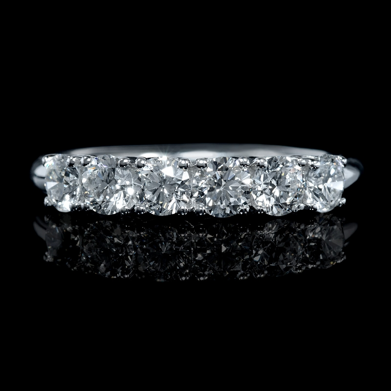98ct Diamond 18k White Gold Six Stone U G Wedding Band Ring