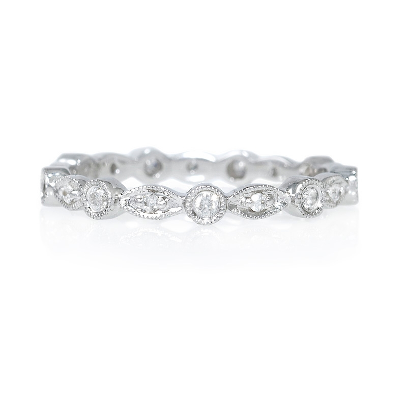 Favorite 19ct Diamond Antique Style 18k White Gold Stackable Eternity Ring UD07