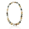 Diamond and South Sea Pearl 18k Two Tone Gold Necklace