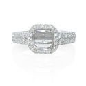 Diamond Platinum Halo Euro Shank Engagement Ring Setting