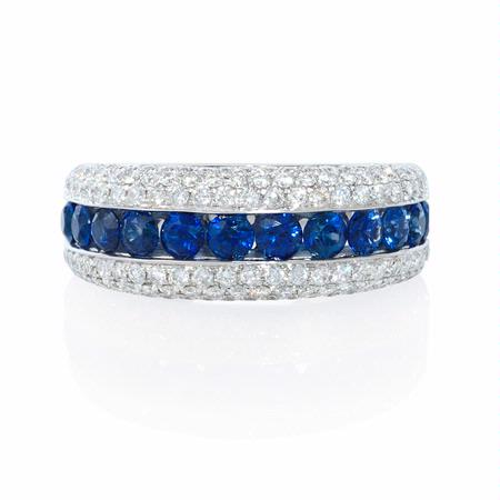 Blue Sapphire and Pave Diamond 18k White Gold Ring