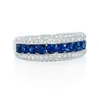 .72ct Blue Sapphire and Pave Diamond 18k White Gold Ring