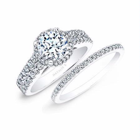 K Diamond 14k White Gold Engagement Ring Setting and Wedding Band Set