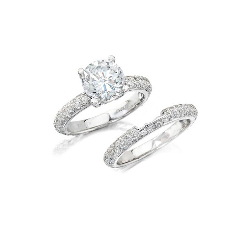 K Diamond 14k White Gold Engagement Ring Setting and Wedding Band Set