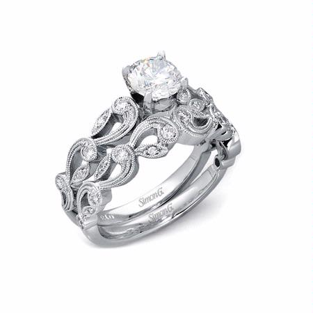 33ct Simon G Diamond Antique Style 18k White Gold Engagement Ring Setting And Wedding Band Set