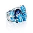 .08ct Diamond, Blue Sapphire and Blue Topaz 18k White Gold Ring