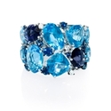 Diamond, Blue Sapphire and Blue Topaz 18k White Gold Ring