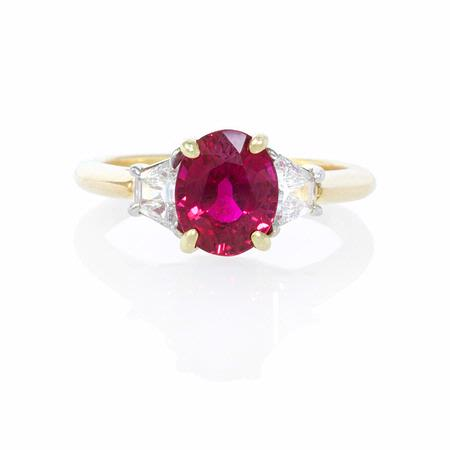 Diamond and Ruby Platinum and 18k Yellow Gold Ring