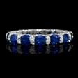 .72ct Diamond and Blue Sapphire 18k White Gold Eternity Wedding Band Ring