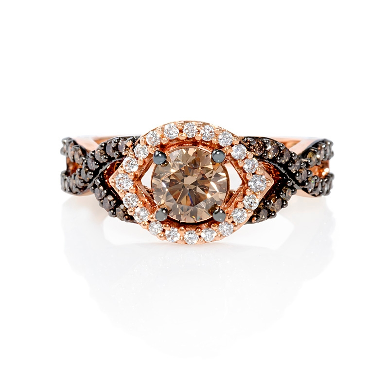 85ct Le Vian Chocolate Diamond 14k Strawberry Gold Ring