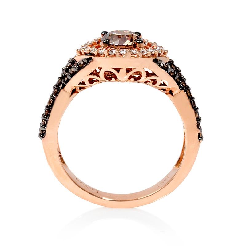 85ct Le Vian Chocolate Diamond 14k Strawberry Gold Ring