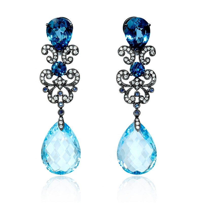 54 8ct sapphire dangle earrings 18 kt gold 54ct blue sapphire and blue topaz antique style