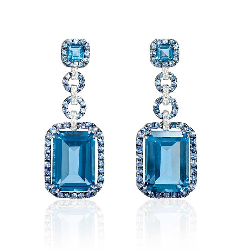 21ct Diamond Blue Sapphire and Blue Topaz 18k White Gold and