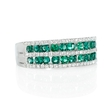 .27ct Diamond and Emerald 18k White Gold Ring