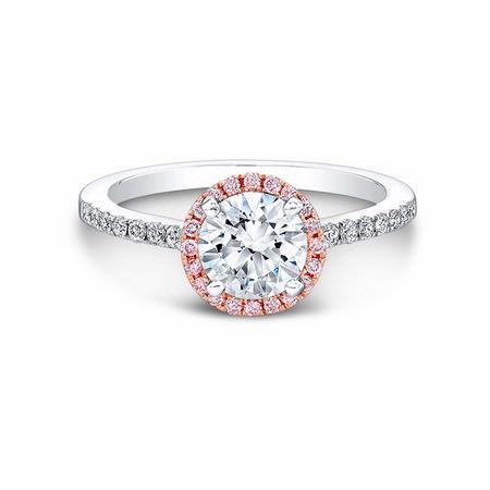 Natalie K Diamond 18k Two Tone Gold Halo Engagement Ring Setting