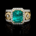 Diamond and GIA Certified Colombian Emerald Antique Style 18k Two Tone Gold Ring