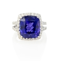 Diamond and Tanzanite 18k White Gold Ring