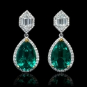 Diamond and GIA Certified Emerald 18k Two Tone Gold Dangle Earrings