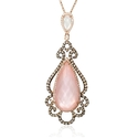 Doves Diamond, White Topaz, Mother of Pearl and Pink Quartz 18k Rose Gold and Black Rhodium Pendant