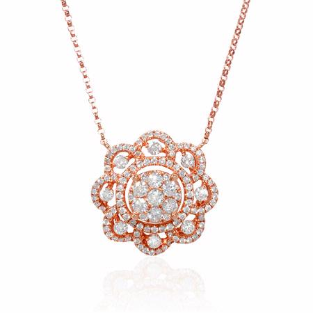 1.04ct Diamond 18k Rose Gold Pendant Necklace