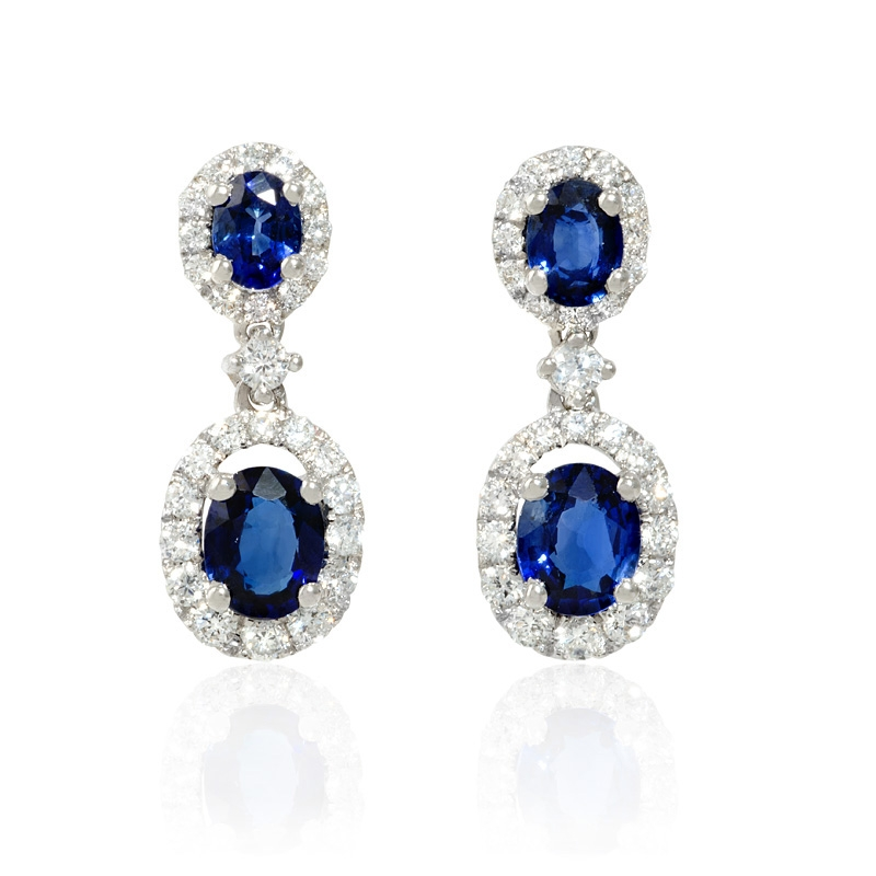54 8ct sapphire dangle earrings 18 kt gold 45ct and blue sapphire 18k white gold dangle earrings