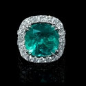 Diamond and GIA Certified Colombian Emerald 18k White Gold Ring