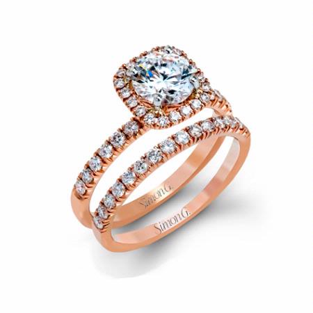 78ct Simon G Diamond 18k Rose Gold Engagement Ring Setting and