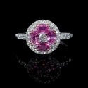 Diamond and Oval Cut Pink Sapphire Antique Style 18k Two Tone Gold Flower Ring