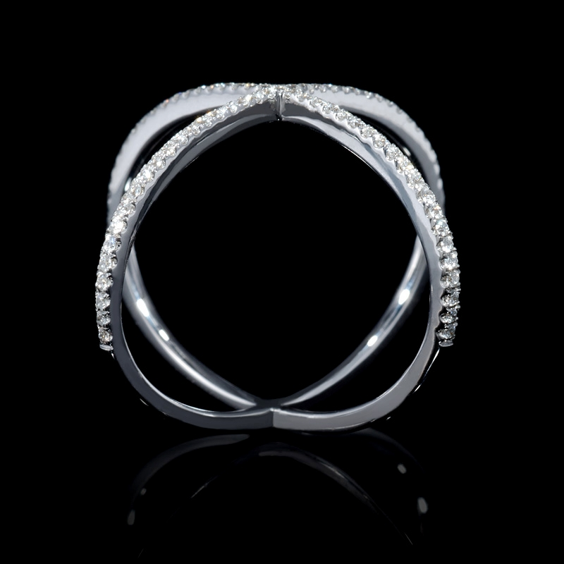 17ct Diamond 18k White Gold X Ring