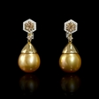 .59ct Diamond and South Sea Golden Pearl 18k Two Tone Gold Dangle Earrings