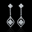 2.02ct Diamond Antique Style 18k White Gold Dangle Earrings