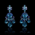 Blue Sapphire Blue Topaz and Iolite 18k White Gold Dangle Earrings