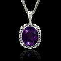 Diamond and Purple Amethyst 14k White Gold Pendant