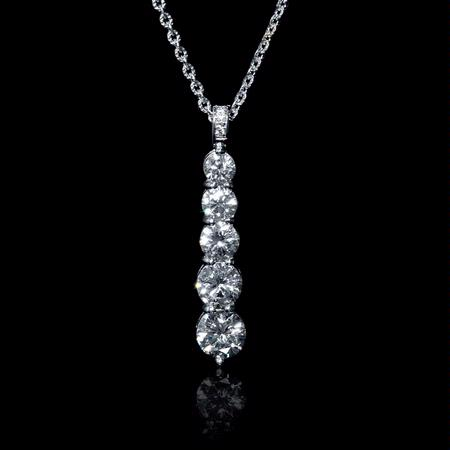 Diamond 18k White Gold Journey Pendant Necklace