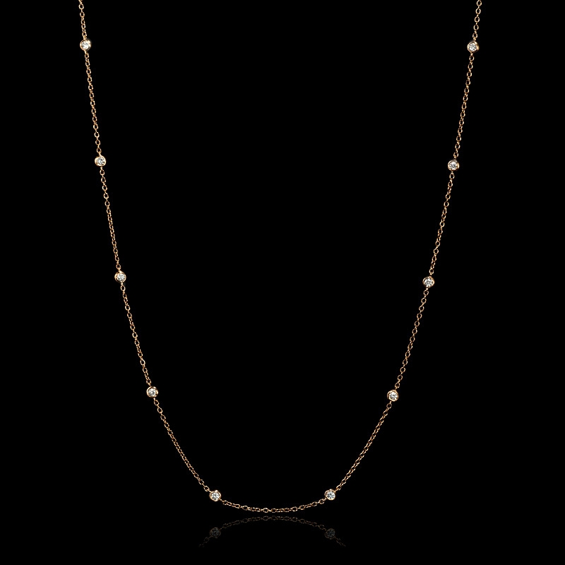 .34ct Diamond Chain 18k Rose Gold Necklace