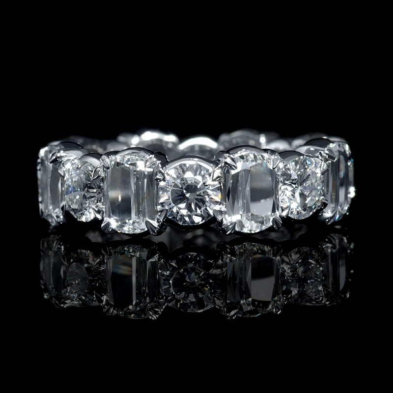 7 28ct Christopher Designs L Amour Crisscut Collection Diamond Platinum Eternity Wedding Band Ring