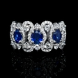 .98ct Diamond and Blue Oval Sapphire 18k White Gold Ring