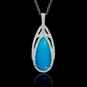 Diamond, White Topaz and Turquoise 18k White Gold Pendant