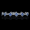 Diamond and Blue Sapphire Antique Style 18k White Gold Bracelet