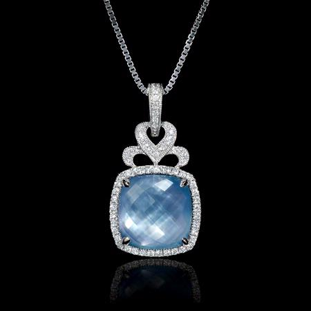 Diamond, Mother of Pearl and Lapis Lazuli 18k White Gold Pendant
