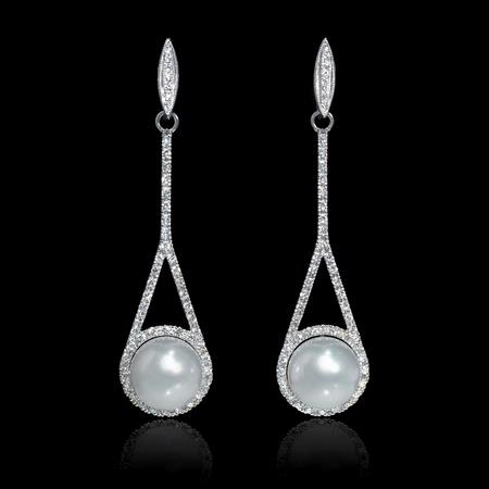 Diamond and South Sea Pearl 14k White Gold Dangle Earrings