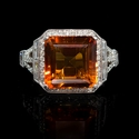Diamond and Citrine Antique Style 18k White Gold Ring