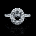 Diamond Antique Style Oval Halo 18k White Gold Engagement Ring Setting