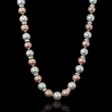 5.50ct Diamond White South Sea and Pink Freshwater Pearl 18k White Gold Necklace