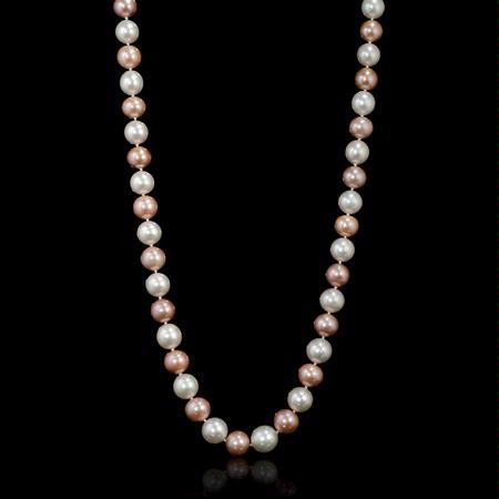 South Sea and Freshwater Pink and White Pearl 18k White Gold Necklace