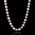 South Sea and Freshwater Pink and White Pearl 18k Yellow Gold Necklace