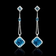 .77ct Diamond and Blue Topaz 18k White Gold Dangle Earrings