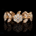 Diamond Antique Style 18k Rose Gold Floral Ring